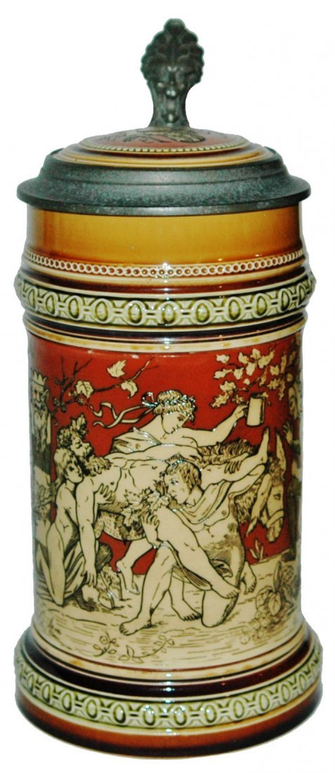 Bacchus 1L Etched Mettlach Stein w Inlay Lid