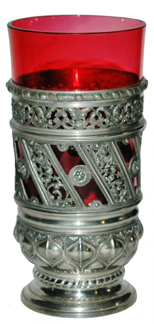 Cranberry Glass & Floral Pewter Design Beaker