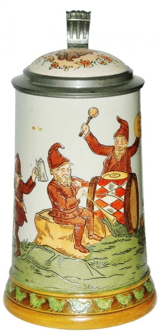 Dwarf Musicians Etched HR Stein w Inlay Lid