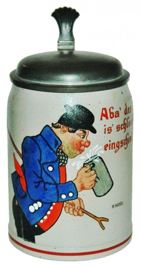 Hobo w Beer Stoneware Stein Signed M.Mantl