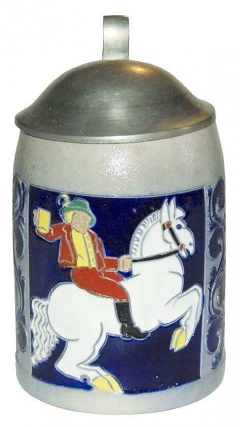 Hohlwein Man on White Horse Stoneware Stein