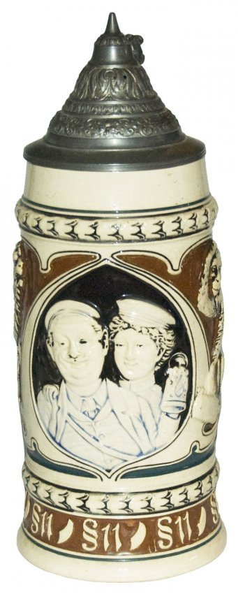 Student Couple Monkey & Cat Relief Stein