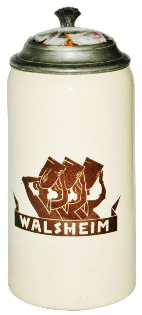 """Rabbi Inlay Lid """"Walsheim"""" Mettlach 1L Stein"""