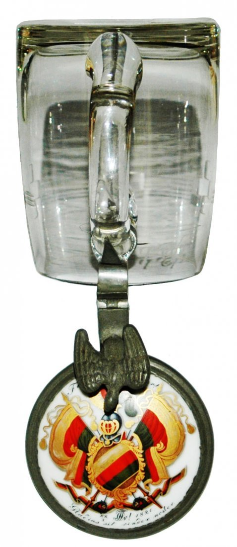 Dueling Fraternal Student Inlay 1864 Glass Stein