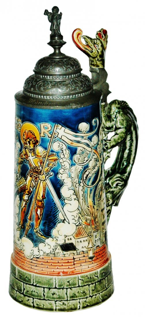 St Florian 1L Mettlach Stein w Dragon Handle