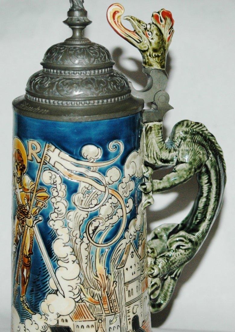 St Florian 1L Mettlach Stein w Dragon Handle - 2