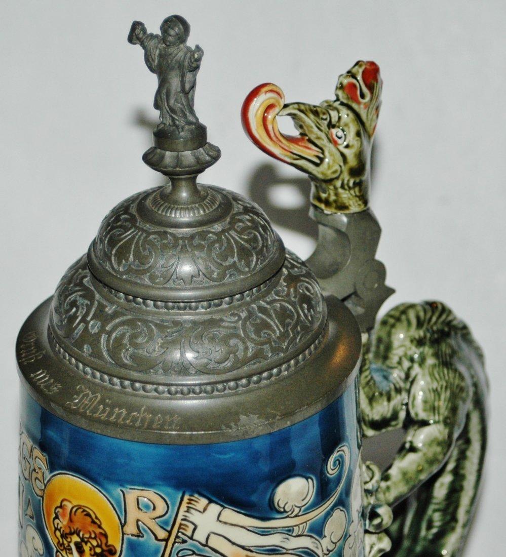 St Florian 1L Mettlach Stein w Dragon Handle - 3