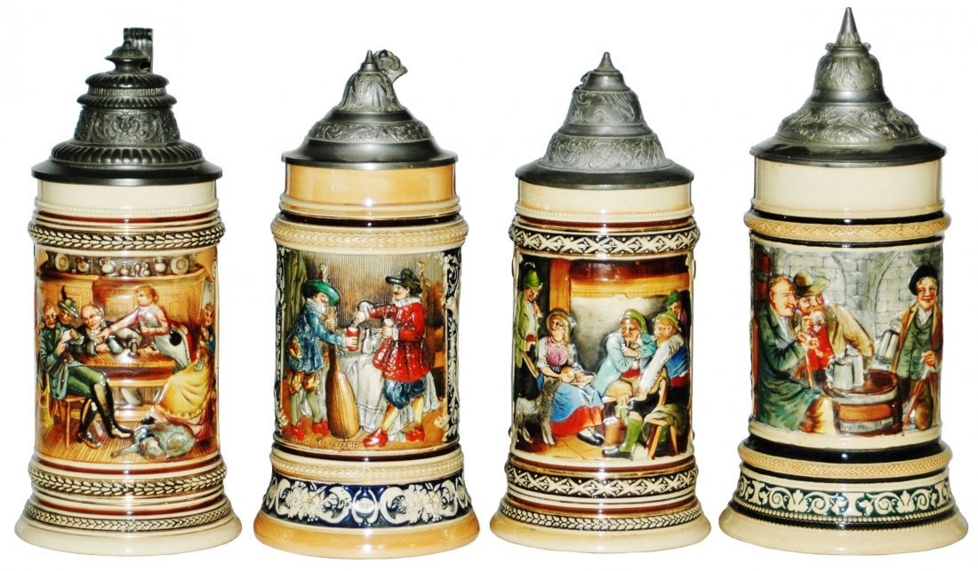 Lot of 4 Four Drinking Scene Steins
