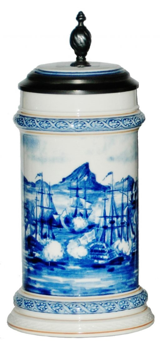 Early Clipper ships Mettlach Stein w Inlay Lid
