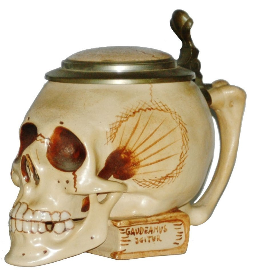 Skull on Book Character Stein