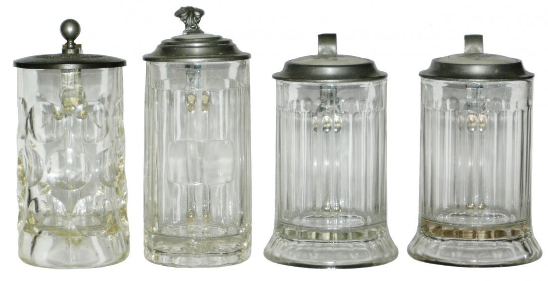 LOT of 4 Glass Steins w marked lids - All Mint