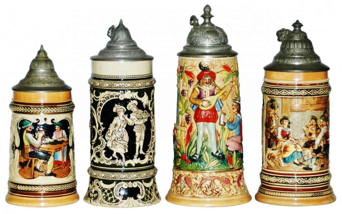 Lot of 4 Pottery Relief Steins
