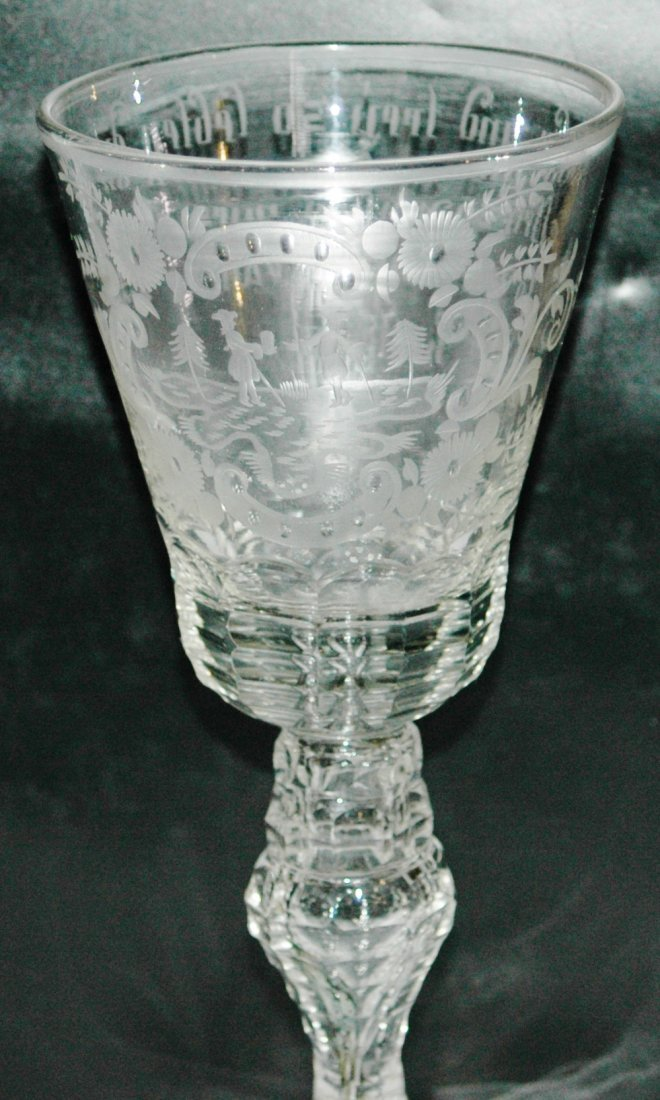 "18th Century Silesian Blown Glass 8"" Goblet"