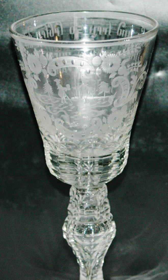 "18th Century Silesian Blown Glass 8"" Goblet"