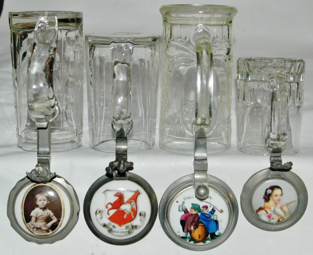 Group of 4 Vintage Glass Steins w/ Porcelain inlay lids