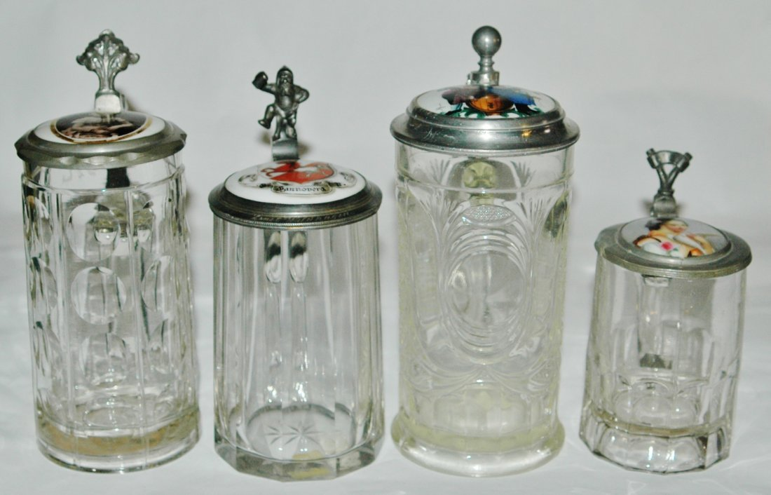 Group of 4 Vintage Glass Steins w/ Porcelain inlay lids - 2