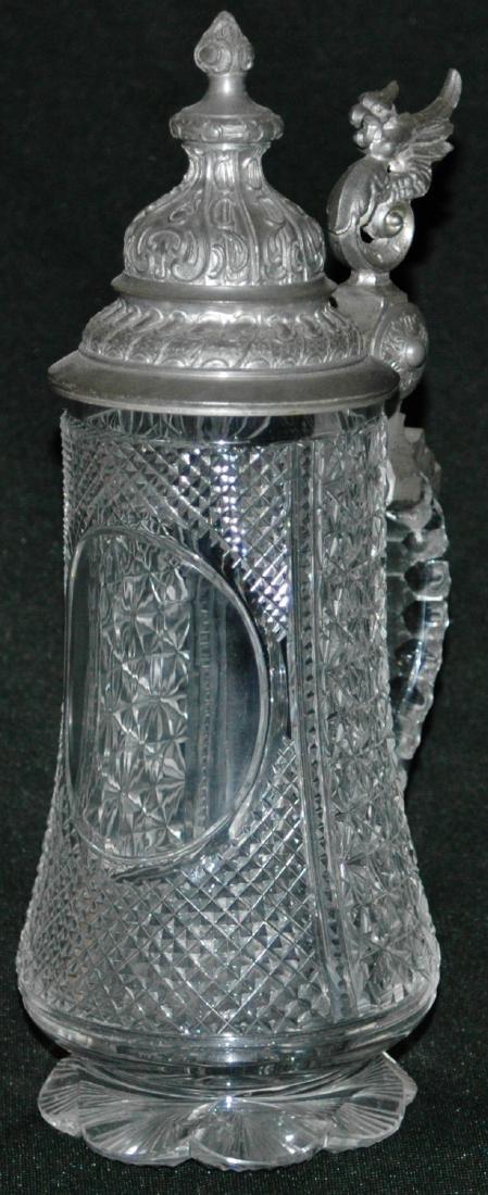 Diamond Facet Cut Glass Stein w Fancy Pewter