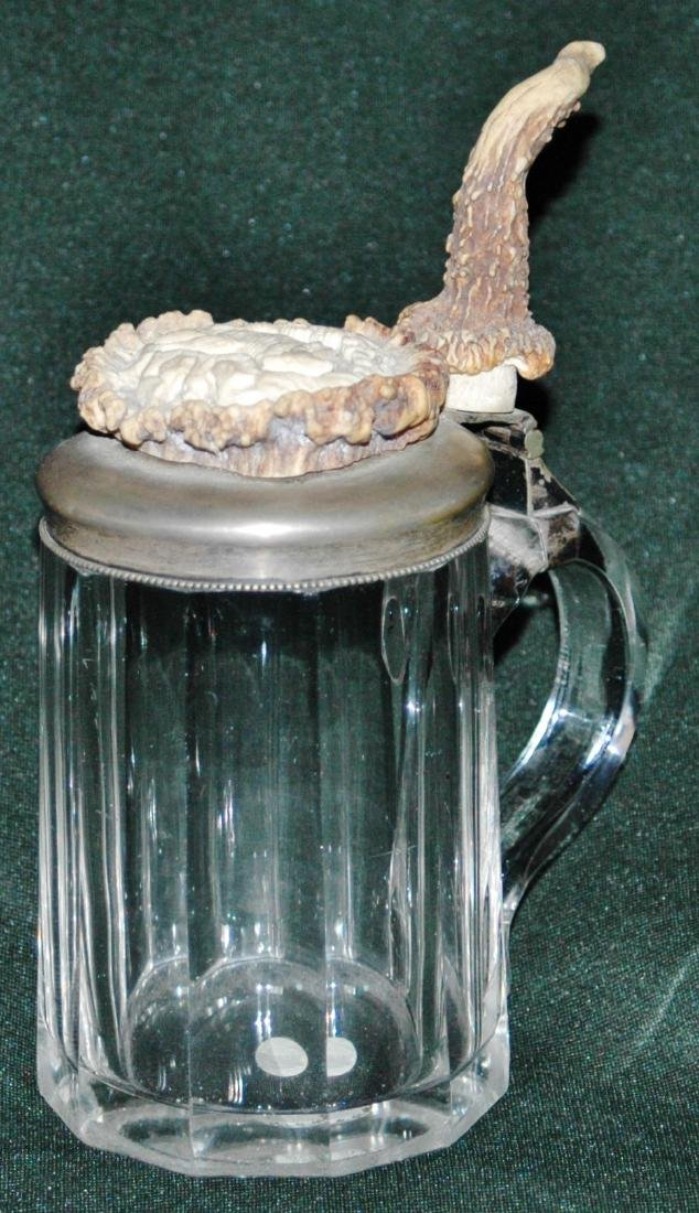 Glass Stein w  Carved Horn Fox & Horn Thumblift
