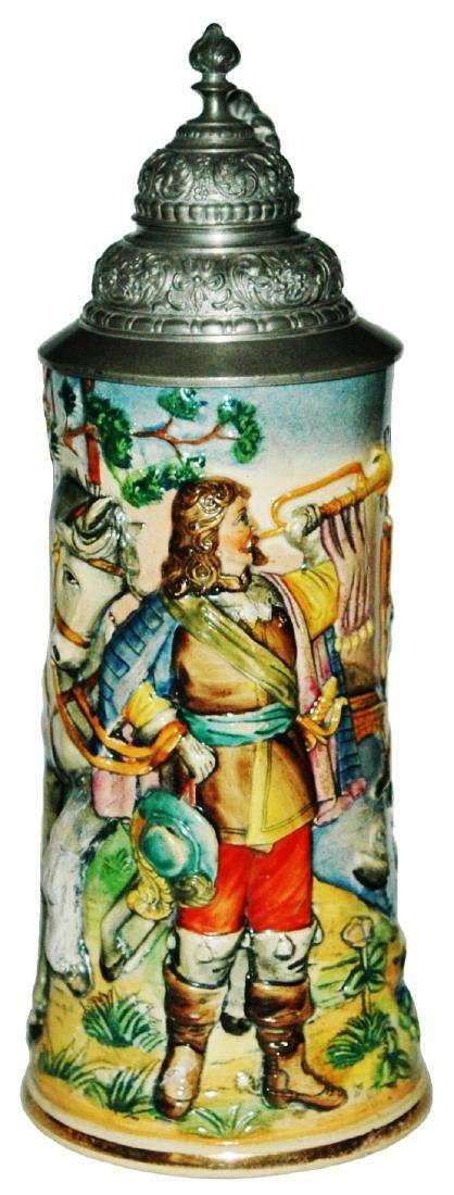 Trumpeter & Horse stein w Fancy Pewter Lid