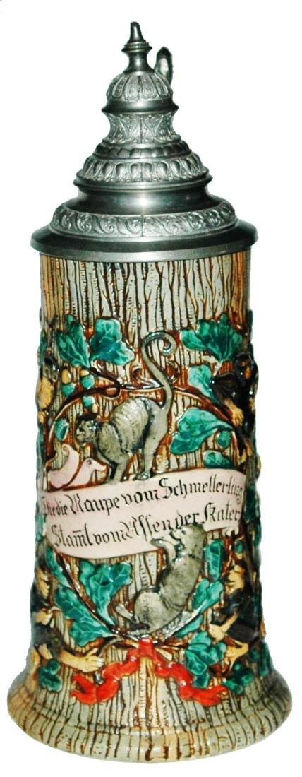 Monkeys Cats & Verse Pottery Relief Stein