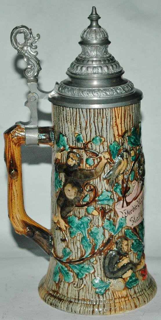 Monkeys Cats & Verse Pottery Relief Stein - 2