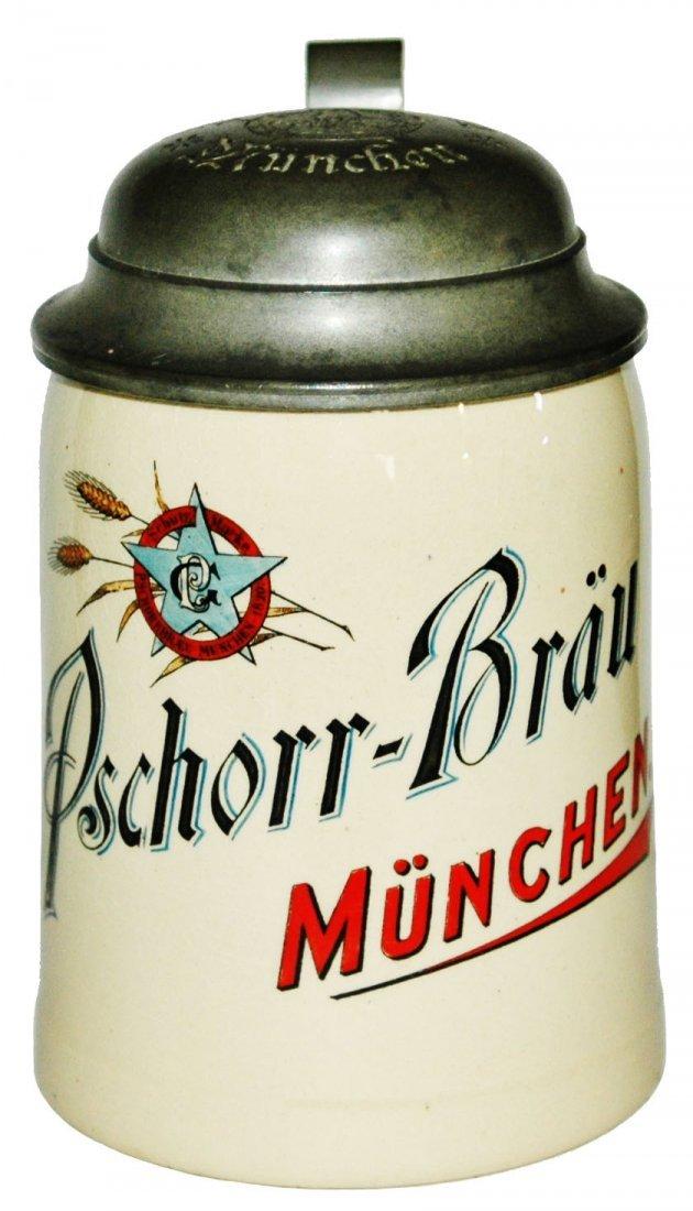 Pschorr Brau Munchen Brewery Stein w Matched Lid