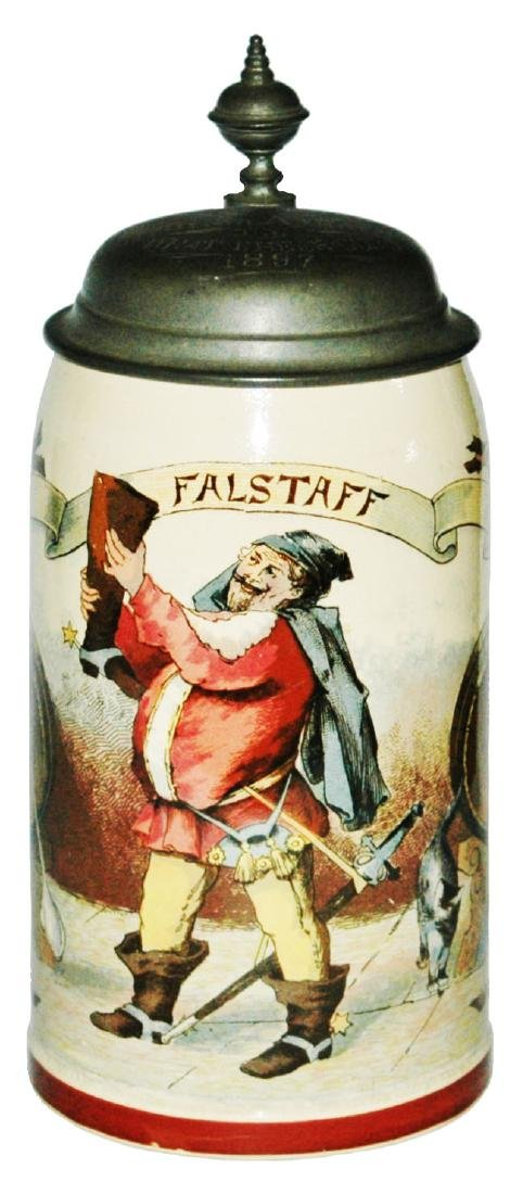 Falstaff Drinks from Boot Mettlach Stein