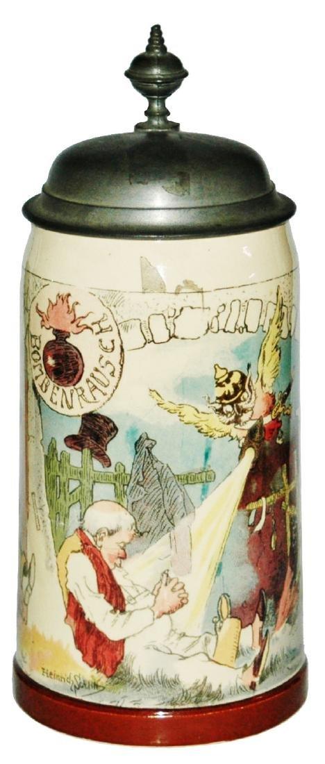 Mettlach Schlitt Owl w Helmet Lamp & Drunk Stein