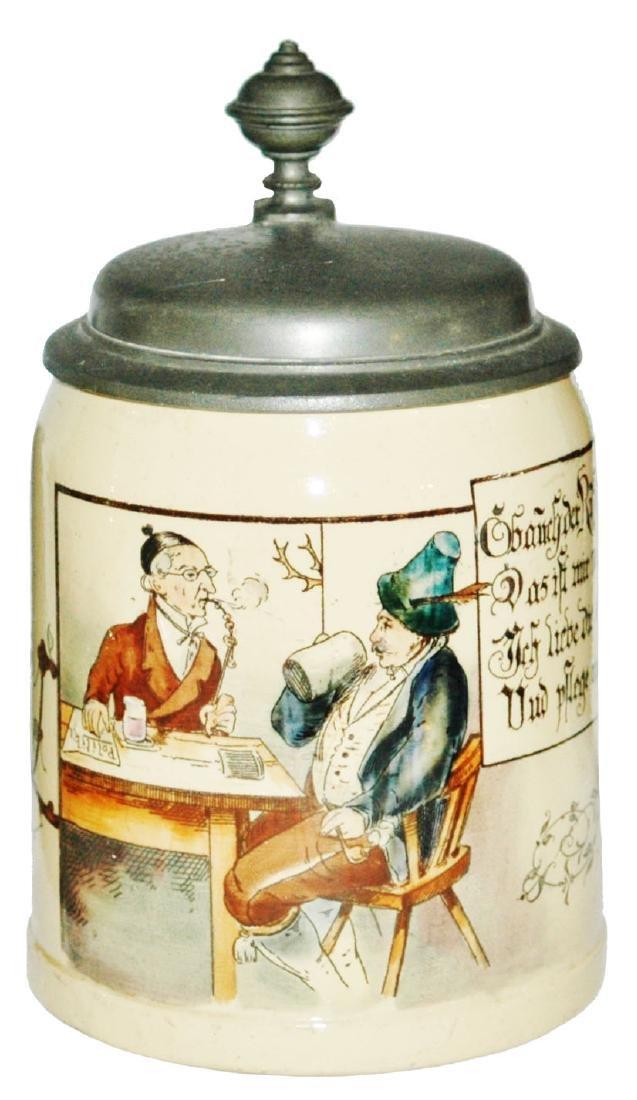 Mettlach Men Drining at Table Stein