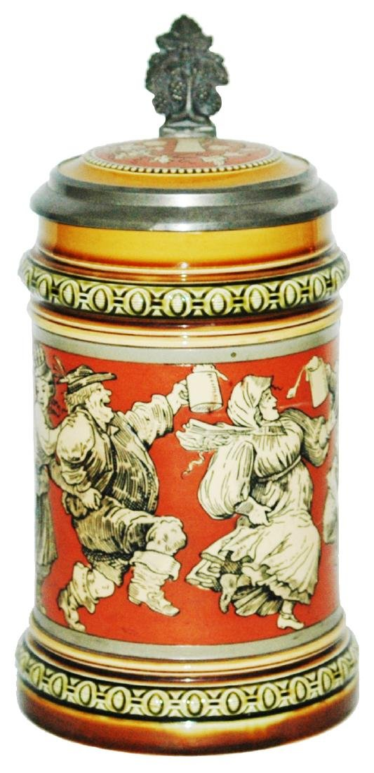 Mettlach Etched Stein w Dancers & Inlay Lid