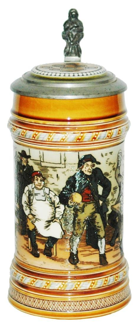 Mettlach Bowling Scene Etched Stein