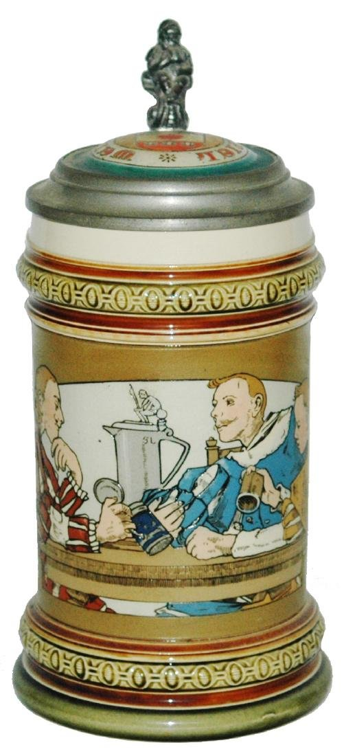 Mettlach Fraternal Students Stein w Inlay Lid
