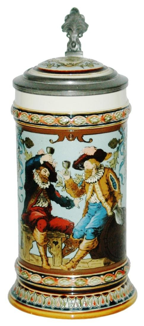 Mettlach Drinking Cavaliers Etched Stein w Inlay