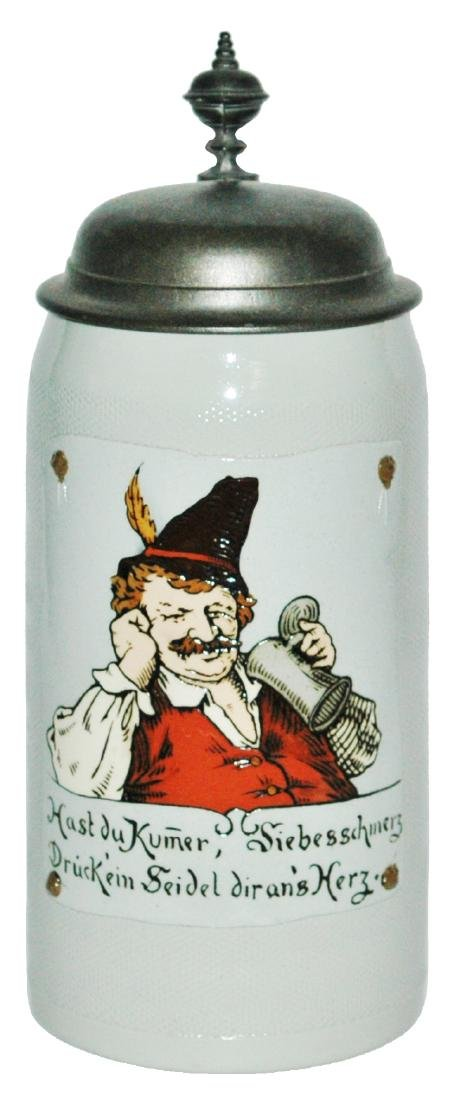 Mettlach 1L Man w Feathered Hat Etched Stein