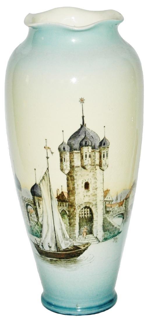 "Mettlach 12-1/2"" Vase Castle & Harbor Scene"