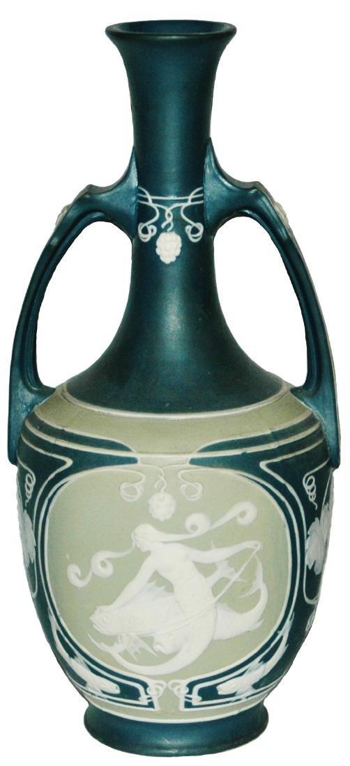 """Mettlach Cameo 13"""" Vase Mermaids & Dolphins"""