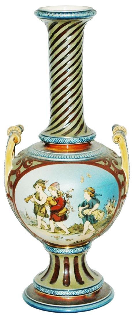 """Mettlach 15"""" Etched Vase Children Scenes"""
