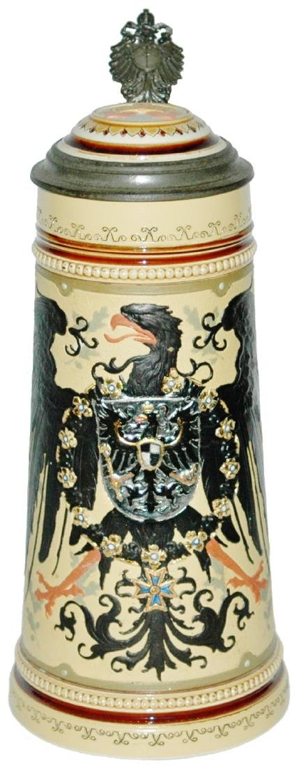 Mettlach 1L Imperial Eagle Stein w Inlay Lid