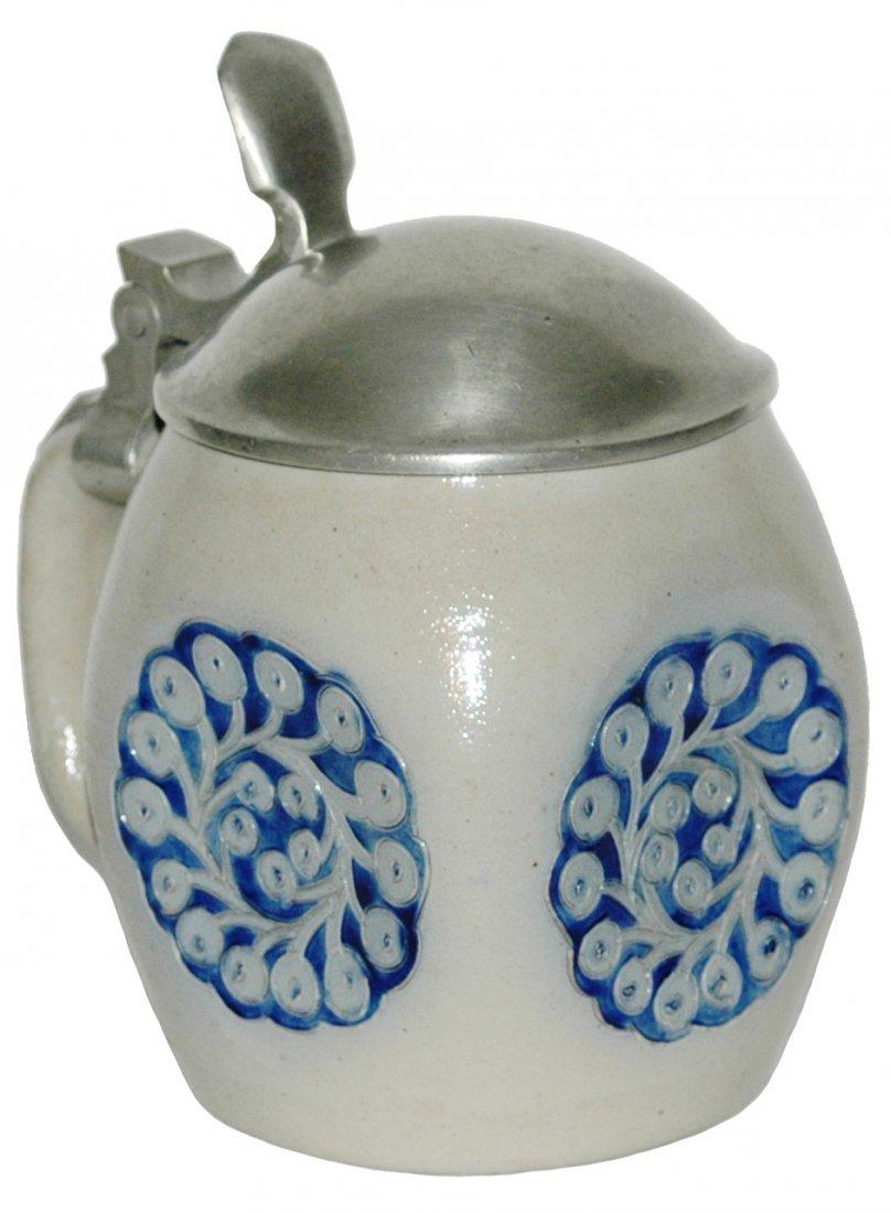 Stoneware Art Nouveau Floral Design Etched Stein