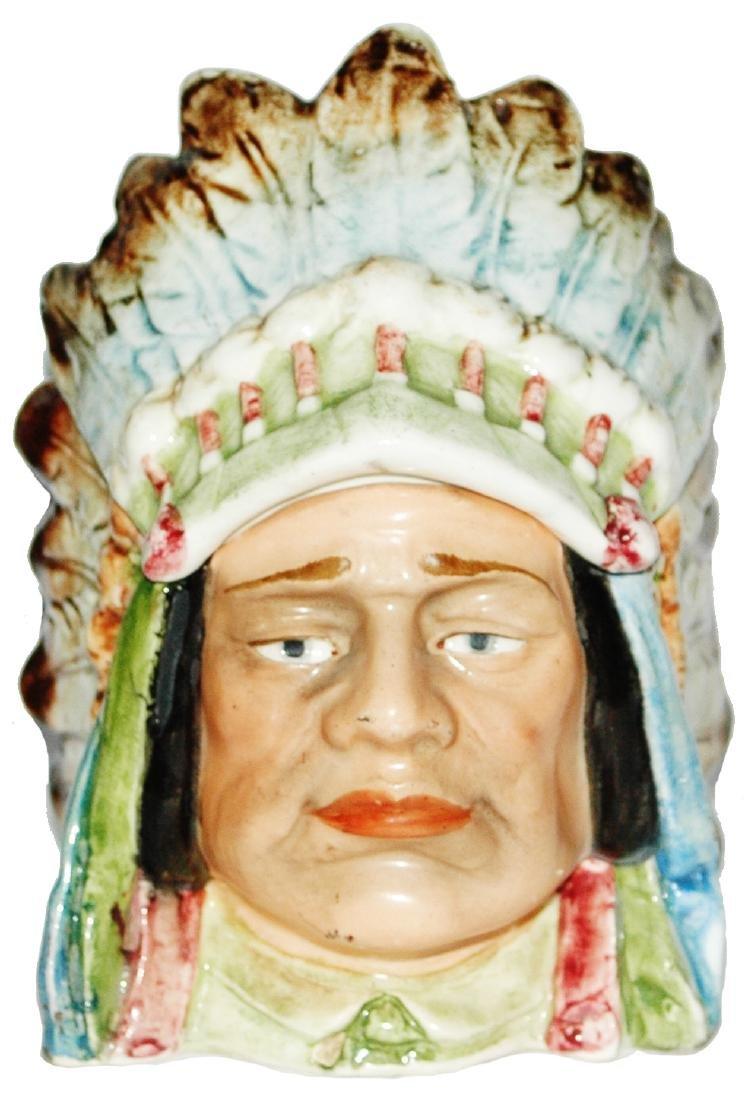 Majolica Indian Tobacco Jar w Headdress