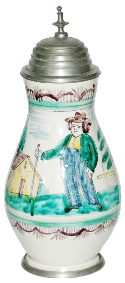 Gmunden Faience c. 1800 Stein Farmer & House