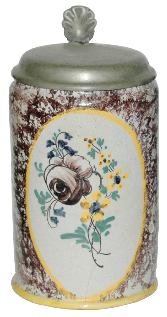 Austrian Faience Sponge Purple c.1800 Stein