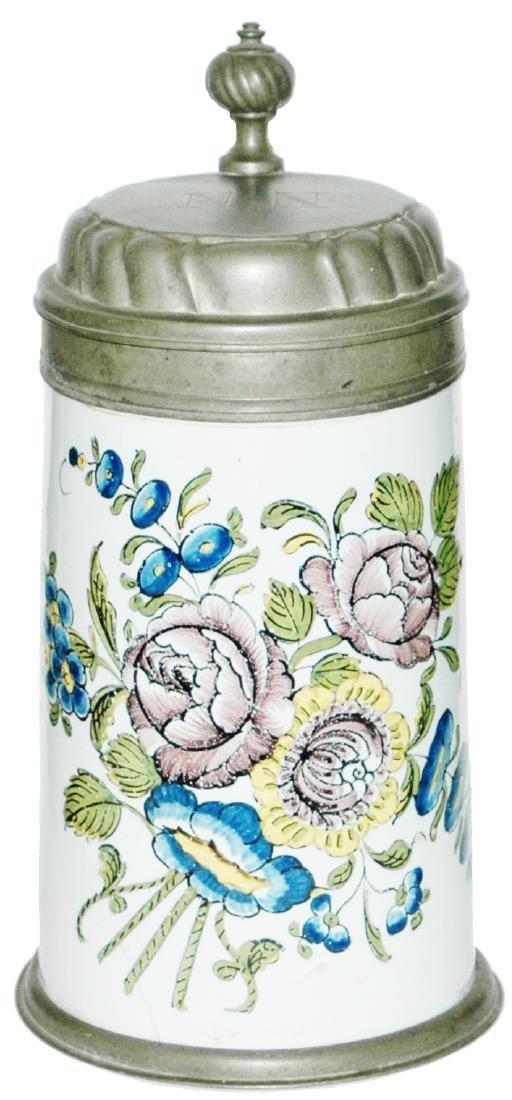 Schrezheim Faience 1L Floral c.1770 Stein
