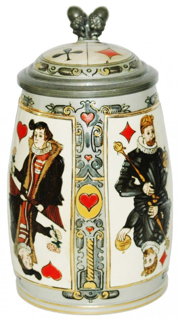 Mettlach Suits of Playing Cards Etched Stein