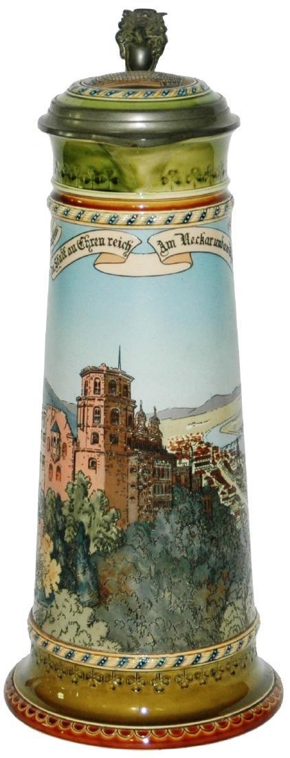 Mettlach 3L Heidelberg Castle Scene Stein w Inlay