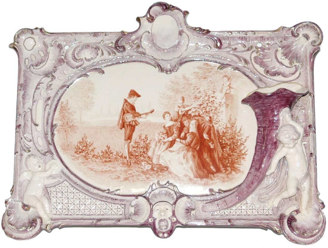 Uncommon Mettlach 23x17 Plaque w Relief Cherubs