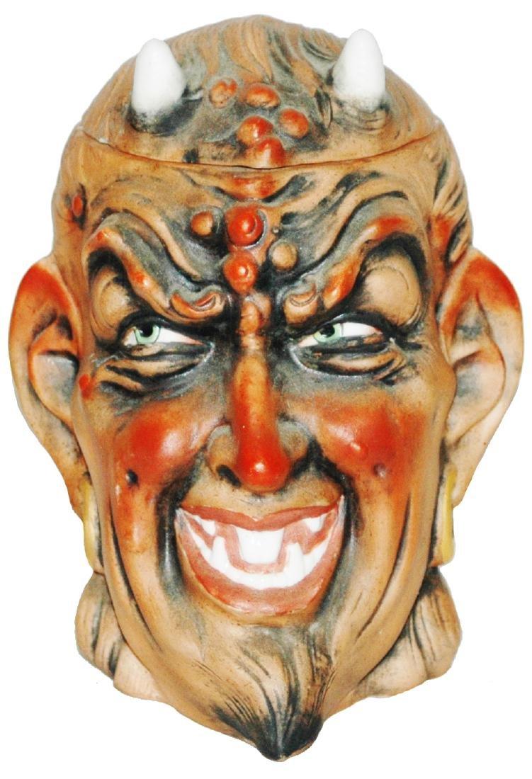 Satan Bohne Porcelain Character Tobacco Jar