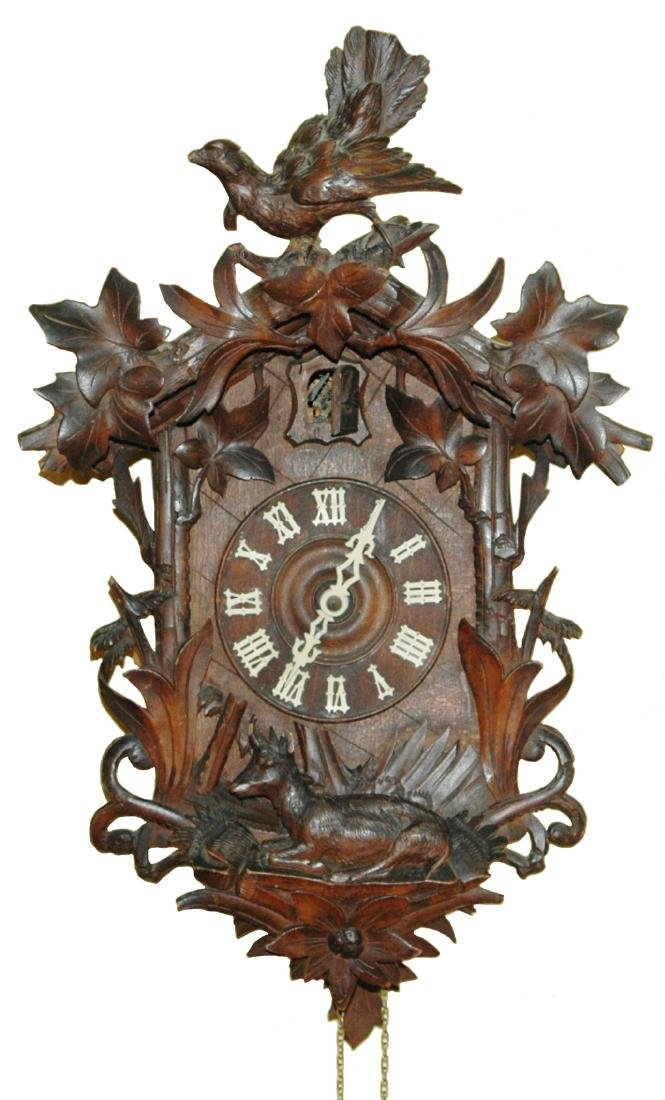 Black Forest Carved Cuckoo Clock w Bird Stag