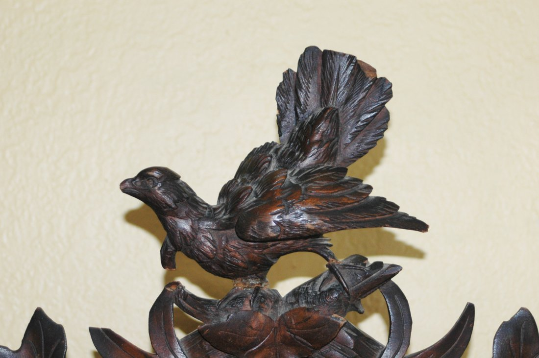 Black Forest Carved Cuckoo Clock w Bird Stag - 5