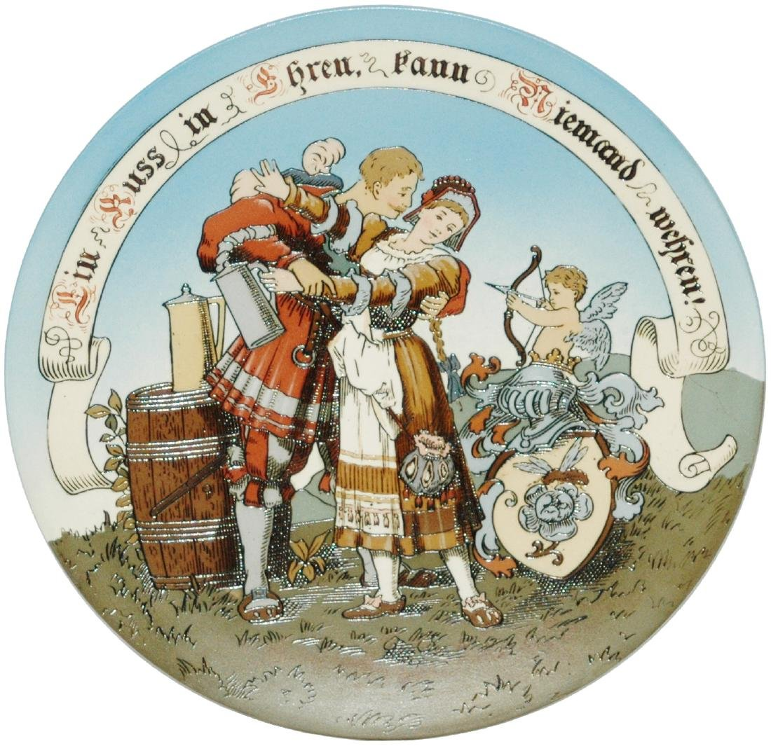 "Pair of Mettlach Cavalier & Maiden 9"" Plaques"